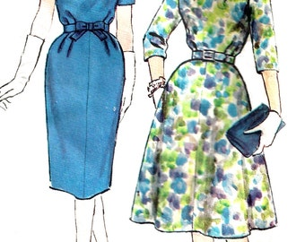 1960s Dress Pattern Simplicity Vintage Sewing Half Size Flared Slim Skirt Women's Misses Size 14. 5 - Bust 35 Inches