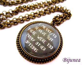 Quotes necklace - Moustache necklace - Black quotes necklace - Phrases love necklace n676