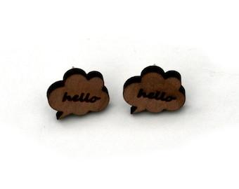 Hello Earrings, Wooden Speech Bubble Stud Earrings