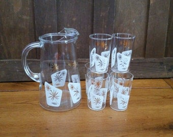 Vintage Gold and White Starburst Juice Glasses with Matching Pitcher Set of 7