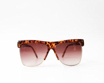 1980's Anne Klein Oversized Wayfarer Clubmaster Sunglasses