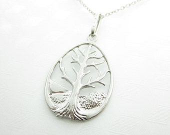 Tree Necklace, Tree of Life Necklace, Tree Charm, Antique Silver Tree, Tree Pendant Necklace X008