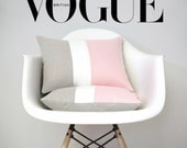 Colorblock Pillows (Set of 2) Rose Quartz, Cream and Natural Linen by JillianReneDecor, Modern Decor, Pink - AS SEEN in Vogue Magazine