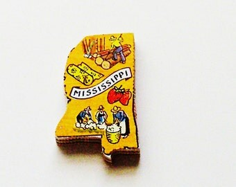 1960s Mississippi Brooch - Pin / Unique Wearable History Gift Idea / Upcycled Vintage Hand Cut Wood Jewelry / Timeless Gift Under 25
