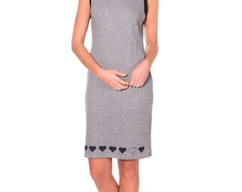 Unique Cotton Dress for Women . Charcoal Gray Heart Trim Cutout Back Dress . Sleeveless Sheath Dress
