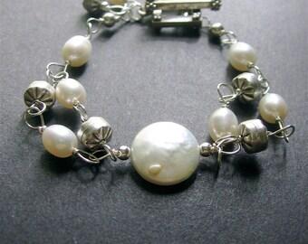 Pearl Bracelet, Pearl Sterling Silver Bracelet, Pearl Wire Wrapped Bracelet, June Birthstone, Wedding Jewelry