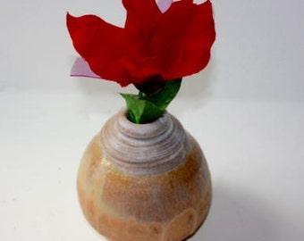 Stoneware Bud Vase Glazed in Earthtones  Vessel for Flower Arranging Container