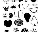 clear photopolymer stamp fruits watermelon orange lemon grapefruit strawberry cherry pineapple pear apple DIY set A6 size 26 designs