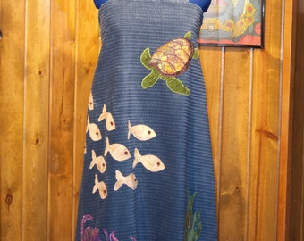 aquatic corduroy handmade a-line festival dress - large