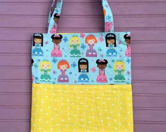 Crayon Tote Bag- Activity Tote Bag- Toddler Tote Bag- Princesses