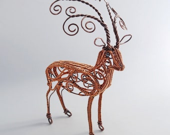 Copper Deer Wire Sculpture Reindeer Fine Art Tabletop Animal