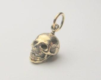 Solid 9K yellow gold human skull