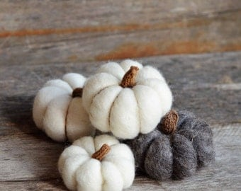 Wool Pumpkins | Needle Felted set of 4 pumpkins in natural white & grey | fall Decor