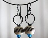 Hand Carved Bead Drop Earrings, Vintage Trade Beads, Glass Beads, Dangle Earrings, Earrings, Cheldena Artwear