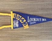 Antique Lookout Mtn Souvenir Felt Pennant | 1940s 1946 Navy Blue Flag Tennessee tn Travel Rustic Cabin Farmhouse | vtg DECOR | FOUND by LB