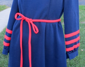 Vintage dress, navy blue with red trim, polyester, size  see measurements