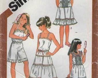 1980s Simplicity 5804 Vintage Sewing Pattern Girls Full Slip, Half Slip, Camisole, Culotte Slip Size 12