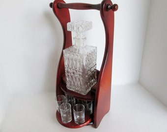 Liqueur Mini Bar, Decanter Shot Glass, Wood Caddy Holder, Mod Liquor Dispenser, After Dinner Liqueur, Mid Century Carrier, Glasses Stopper