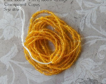 Size 18/0  Antique Micro Beads - Transparent Yellow Topaz