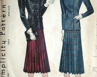 Vintage 30's Simplicity 2891 Sewing Pattern, Misses' Suit, 1930's Fashion, Size 12, 30 Bust