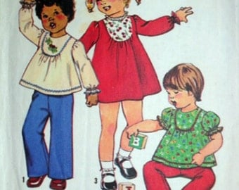 Vintage 70's Simplicity 8129 Sewing Pattern, Toddlers' Simple -To -Sew Dress Or Top And Pants, Retro 1970's, Size 2