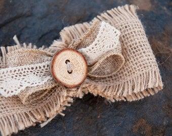 Rustic Burlap Wooden Button Bow Clip
