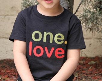 ONE. LOVE. Toddler Boy Girl Rasta shirt, Toddler Reggae tshirt - Black Red Green Yellow - toddler peace shirt, hippy baby, baby reggae shirt