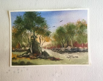 Path to Spring an Original Watercolor Painting 5x7 inches