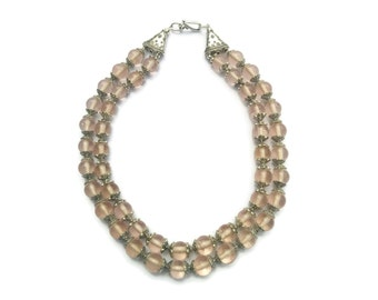 Blush – Pale Pink/Tribal Silver Statement Necklace - Beaded Glass 2-Strand Collar Vintage Style – Mishimon Designs