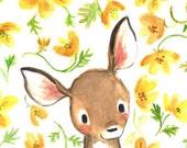 Children's Art -- Whimsy Floral Fawn -- Art Print
