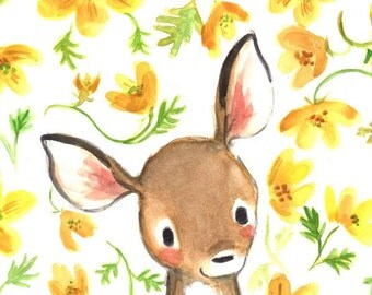 Children's Art -- Whimsy Floral Fawn -- Art Print