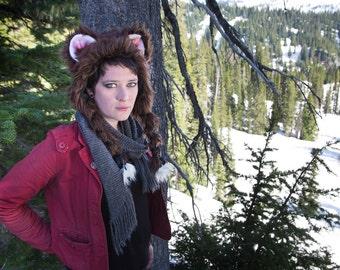 Brown Bear Soft Sculpture Ear Hat