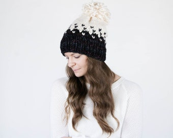 Chunky Knit Hat, Fair Isle Ombré Knit Hat, Slouchy Winter Hat With Pom Pom / THE MINTURN / Blackstone and Fisherman