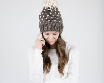 Fair Isle Knit Slouchy Hat With Pom Pom / THE ALPINE / Barley and Fisherman