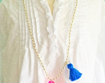 Seahorse Necklace Tassel Jewelry Animal Necklace Preppy Necklace Nautical Jewelry Neon Jewelry Boho necklace for kids