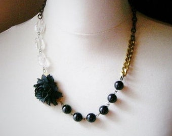 Onyx chunky necklace, quartz beaded necklace, statement necklace, gothic necklace, black rose necklace, unique holiday gift ideas