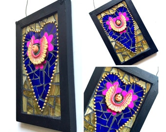 Mosaic Altar Plaque, Mosaic Angel Plaque, Winged Mexican Angel Altar Shrine, Mosaic Heart Art Wall Hanging, Mosaic ArtMixed Media Art