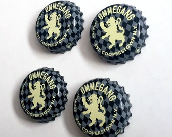 Beer Magnets, Bottle Cap Magnets, Ommegang Bottle Cap Magnets, Bar Magnets, Four Beer Bottle Magnets, Cooperstown Magnets, Microbrew Magnets