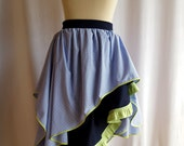 Lime Green, Navy and Blue Check Waterfall Dance Skirt SAMPLE SALE