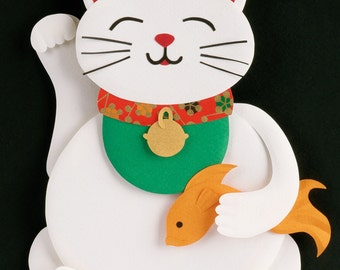 Postcard - Maneki Neko / Lucky Cat / Beckoning Cat - mini art print of an original paper sculpture by Tiffany Budzisz