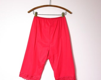 1960s Red Nylon Pantaloons Bloomers S