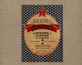 items similar to printable western cowboy party invitations, invitation samples