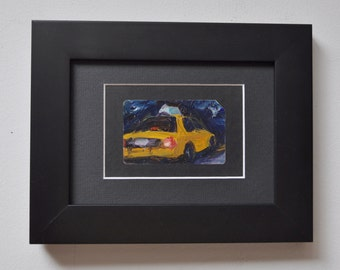 Art Oil Painting New York City Taxi on Recycled NYC Subway Card