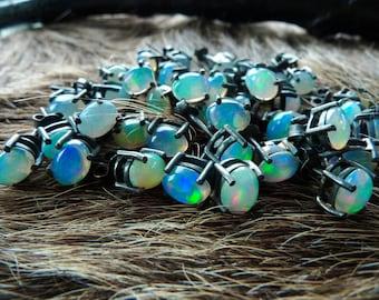 SEMI ANNUAL SALE Opal studs | Natural opal earrings | Fire opal earrings | Opal in silver post earrings | October birthstone earrings