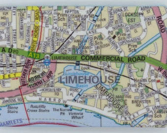 Oyster card holder, bus pass holder, travel card holder, wallet. Limehouse London map print. Card wallet, Oyster card wallet, card holder.