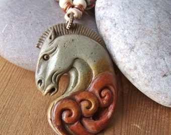 Wild Horses I - Jasper and Lampwork Necklace