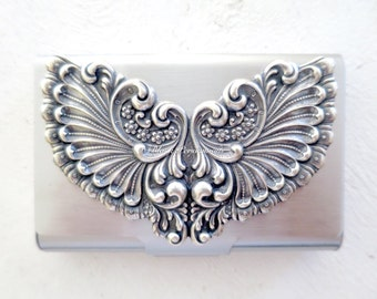Victorian Wings Stainless Steel Business Card Case - Sterling Silver Plated Brass Stamping -  Insurance Included