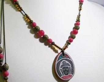 Buddhas Eye And Buddha Adjustable Necklace Quartz Gemstones Brass Reverseable