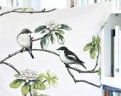 birds decorative pillow cover, white grey black green flowers, cushion cover 16 inch