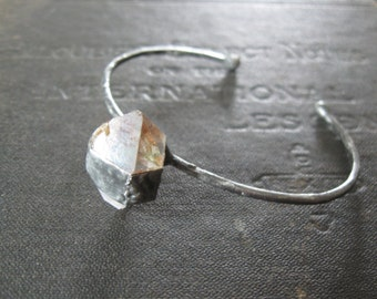 Captured - Minimalist Cuff Bracelet with Quartz Herkimer Diamond